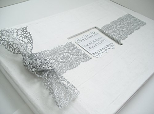 Lace Wedding Guest Book - Bridal Lace GuestBook - White and Silver French Lace Guestbook - Personalized by Michelle Worldesigns
