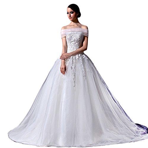 Tidetell Portrait A Line Sleeveless Lace Chapel Train Wedding Dress White Size 6