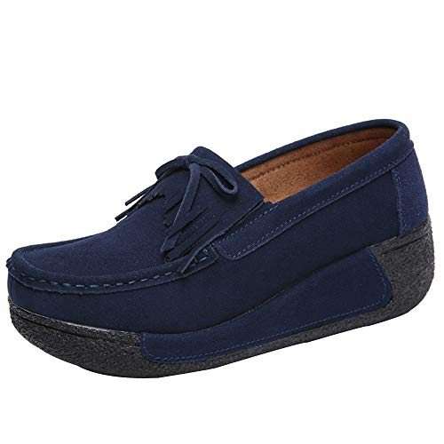 Sherostore ♡ Women's Leather Platform Slip On Loafers Comfort Moccasins Low Top Casual Shoes Dark Blue