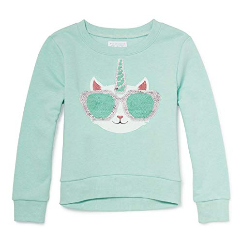 Sweatshirt Girl Kids Places - The Children's Place Big Girls Long Sleeve Graphic Sweater, Eggshell Blue, M (7/8)