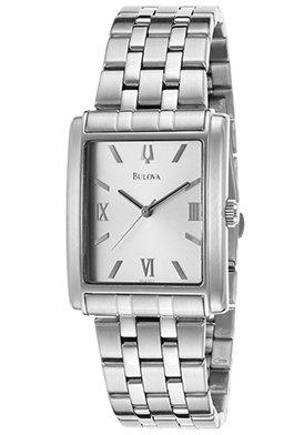 amazon com bulova men s 96a001 stainless steel rectangle bracelet bulova men s 96a001 stainless steel rectangle bracelet watch