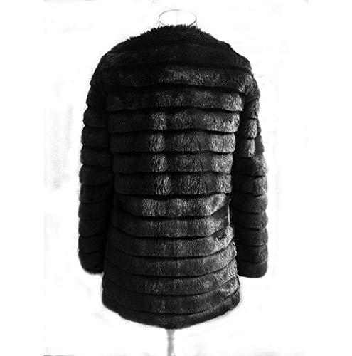 Outwear Parka Casuale Di Faux Donne Allentato Del Calda Cardigan Streetwear Tuduz Addensare Giacca Delle Pelliccia Nero 10 Incappucciato Soprabito qvROwvaf