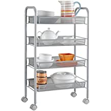 LANGRIA Bathroom Shelving Utility Cart (4-Tier Silver)