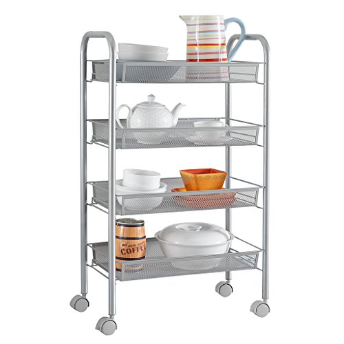 LANGRIA 4-Tier Gap Kitchen Storage Slim Slide Out Tower Rack Shelf with Wheels, Utility Trolley Organization Serving Cart on Casters, Grey