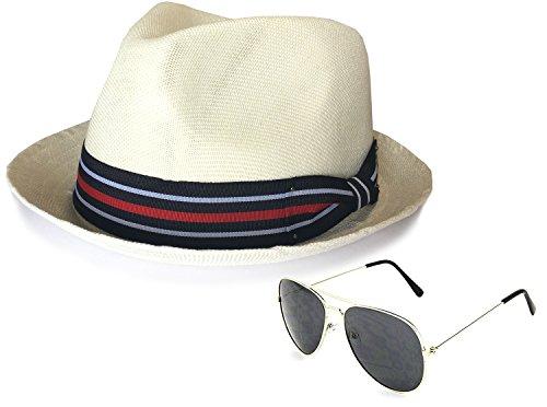 Epoch Men's Summer Lightweight Linen Fedora Hat With Aviator Sunglasses, LXL, - Aviators Ray Bands