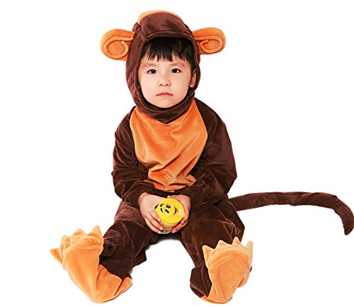 Mitef Unisex Animal Cosplay Costume Cute Monkey Hooded Jumpsuit for Child, XL -