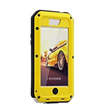 R&MAO-iPhone 5C Case, Extreme Waterproof/Shockproof Dust/Dirt Proof Aluminum Metal Gorilla Glass Protection Case Cover Military Heavy Duty Protection Cover Case for Apple iPhone 5C(Yellow)