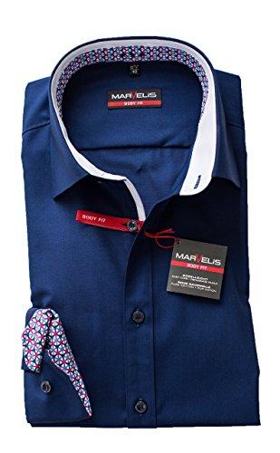 MARVELIS Body Fit Hemd Dunkelblau Langarm 64cm Bügelleicht 100% Baumwolle