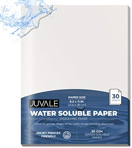 Water Soluble Dissolving Paper (8.5 x 11 in, 30 Sheets)