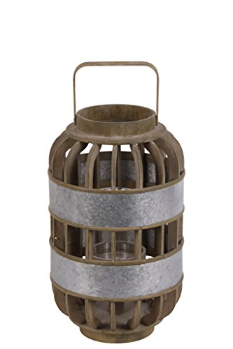 (Urban Trends 41311 Wood Round Tall Lantern with Lattice Design Handle/Metal Banded Rim Body Small Natural Finish, Brown)