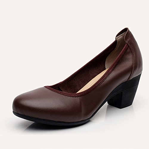 Womens Classic Leather Dress Pump Round Toe Block Chunky Mid Heel Shoes Brown lmHI361z