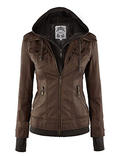 LL WJC664 Womens Faux Leather Jacket with Hoodie L COFFEE