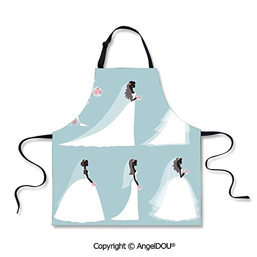 SCOXIXI Kitchen Bib Apron with Adjustable Neck Fashion Design Wedding Bride Dress with Flowers Waterproof Aprons for Restaurant BBQ Grill. ()