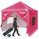 Quictent Privacy 10x10 EZ Pop Up Canopy Party Tent Folding Gazebo with Sidewalls Waterproof (Pink)