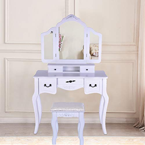 Sonmer Vanity Set with Mirror, Cushioned Stool, Storage Shelves, Drawers Dividers ,3 Style Optional, Shipped from US - Two Day Shipping (#3, White) by Sonmer (Image #3)