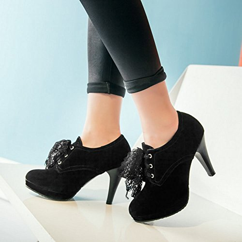 Heel Fashion Carolbar Black Ankle High Women's Lace Suede Boots Platform Xfw5n6xwq