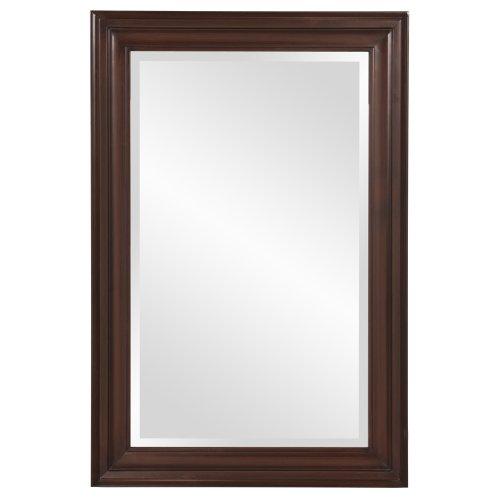 Howard Elliott George Rectangular Wood Framed Wall Vanity Mirror, Chocolate Brown, -