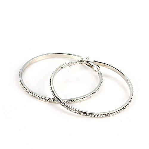 Meflying Women Rhinestone Hoop Earrings Round Shape Charm Earrings Diameter 51mm (Earring Rhinestone Round)
