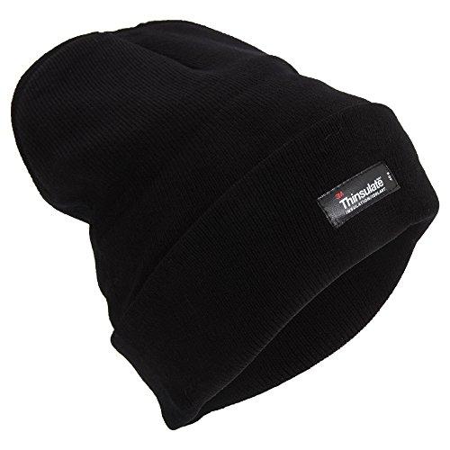 Universal Textiles Mens Heatguard Thermal Winter/Ski Beanie Hat (One Size) (Black)