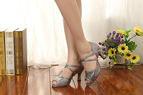 5cm De Uk Chaussures Découpées Pour Heel Danse 7 Synthétiques Taille Et 6 Femmes Gl256 Qiusa Respirantes Silver Heel coloré 5 wSOE4x