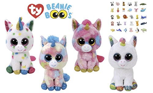 TY Beanie Boos Regular Stuffed Animals & ONE Bonus Animal Eraser | Plush, Soft, Cuddly, Cute Kids Toys with Sparkling Eyes | for Boys & Girls, Birthday Gift Sets (Unicorns)