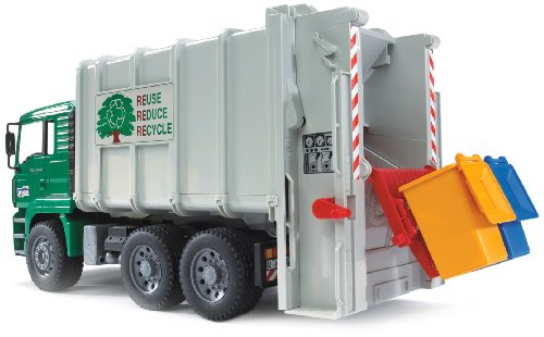 Bruder Toys Man Rear Loading Garbage Truck Green