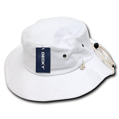 Decky Inc Aussie Outdoor Fishermans Cotton Boonie Bucket Hats 510 White L/XL (Hats For Wholesale)