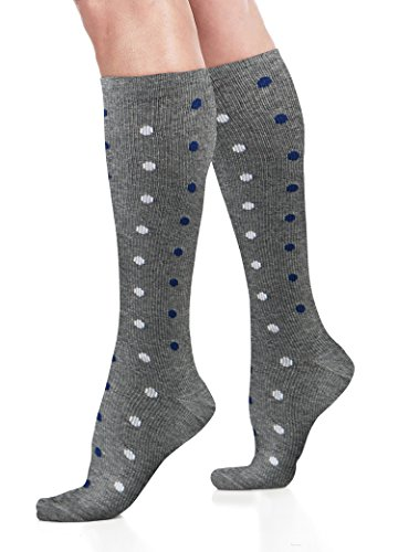 n Socks – L/XL – Gray w/ Polka Dots - Graduated Support, Relief and Recovery. Best for Running, Medical, Athletic, Diabetic, Travel, Pregnancy, Maternity, Nursing (8-15 mmHg) (Cotton Polka Dots Tights)