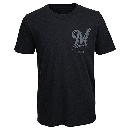 Milwaukee Brewers Mlb Light - MLB Milwaukee Brewers Youth Boys 8-20 Stadium Lights Tee-L (14-16), Black