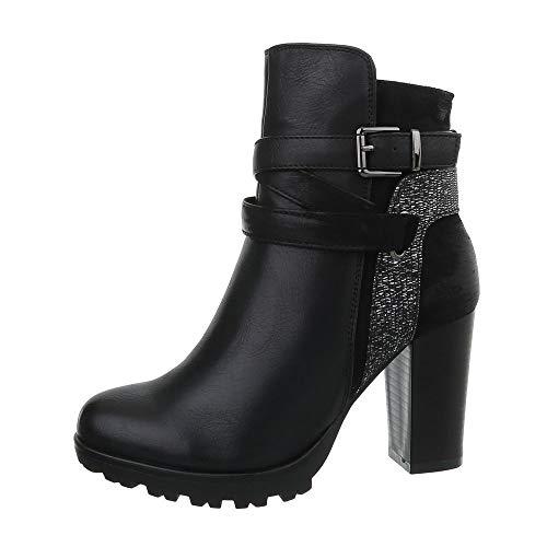 Ital Bottes Femme design Cowboy Bottines 1112 ga Et Schwarz grFXgq5x