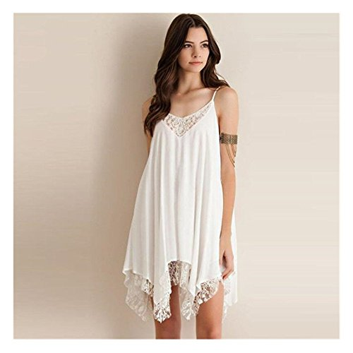 UPLOTER Women Sling Lace Cocktail Party Short Beach Mini Dress (Small)