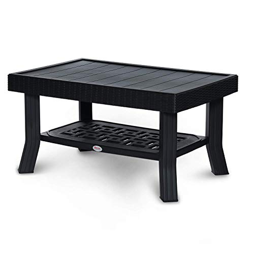 Supreme Vegas Center Plastic Table for Home, Office & Outdoor (Black)