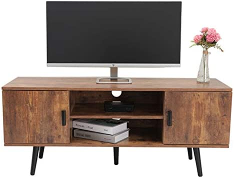 IWELL Mid-Century Modern TV Stand for TVs up to 55 Inch, Boho TV Console with 2 Storage Cabinet for Living Room, Home Media Entertainment Center for Media Cable Box Gaming Consoles, Rustic Brown