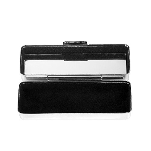 Kloud City Steel Lipstick Case with Mirror and Velvet Lined Lipstick Holder Makeup Case Jewelry Box ()