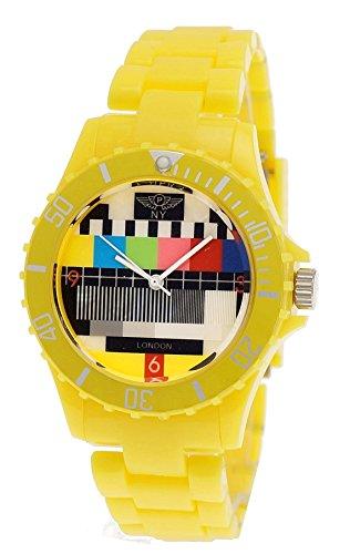 (NY London Retro Classic Unisex Testpage Closedown TV Screen Test Pattern Women Men Plastic Bracelet Watch Ladies Watch Mens Watch Wristwatch Yellow including Watch Box and Bracelet)
