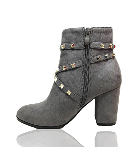 Party Di New Ladies Cinturino A Borchie Romaan Stivaletti Alti Shoes Con Tacchi Fashion Spillo Grigio Ideal Moda Womens qEYIFEZw