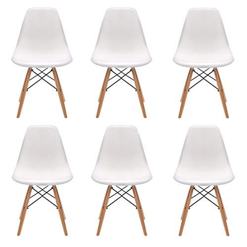 N/A Un conjunto de 4/6 elegante diseno minimalista patas de madera, adecuado para comedor, dormitorio, silla de oficina. 82 x 46 x 53.5, polipropileno Aleacion de acero, Blanco, 82 x 46 x 53.5