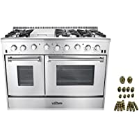 48 6 Burner Gas Range with Double Oven + LP Conversion Kit Bundle