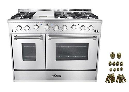 A 48u0026quot 6 Burner Gas Range With Double Oven  LP Conversion Kit Bundle