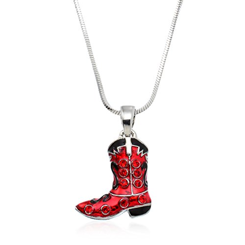 PammyJ Silvertone Red and Black Crystal Cowgirl Cowboy Boot Pendant Necklace, 17