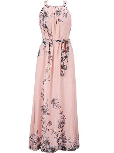 PERSUN Halter Neck Floral Print Maxi Dress