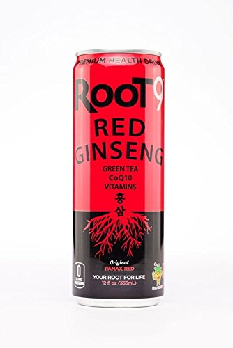Root 9 Red Ginseng Premium Health Drink, Green Tea, CoQ10, Vitamins, 12fl.oz. (Pack of 16)