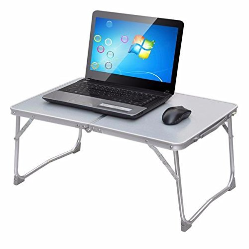 Yaheetech Foldable Laptop Table/Breakfast Serving Bed Tray/Portable Mini Picnic Table with Inner Storage Space and Soft Handle for Sofa Couch Floor (Gray)