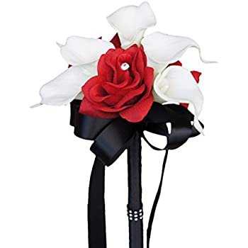 Amazon wedding bouquet apple red silk rose white real touch wedding bouquet apple red silk rose white real touch calla lily mightylinksfo