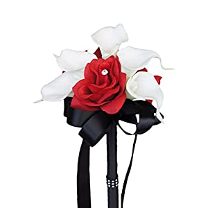 Wedding Bouquet - Apple Red Silk Rose White Real Touch Calla Lily 60