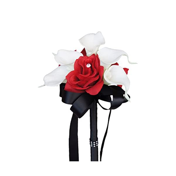 Angel Isabella Wedding Bouquet – Apple Red Silk Rose White Real Touch Calla Lily