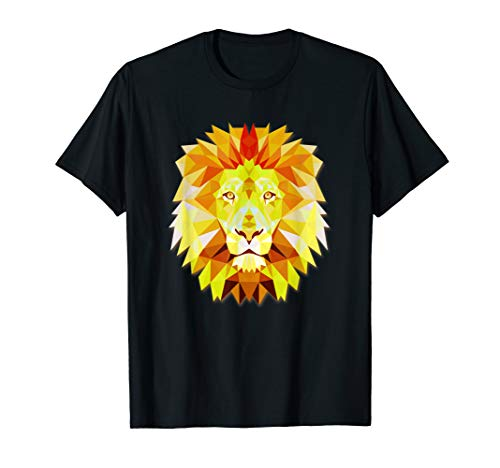 Tee Face Lion - Big Lion Face Graphic Animal Polygon Tshirt