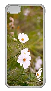Customized iphone 5C PC Transparent Case - White Cosmos Flowers Personalized Cover