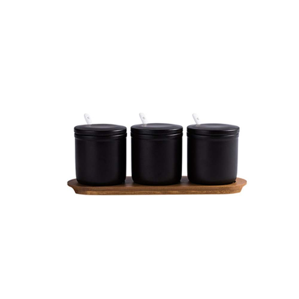 MINGRUIGONGMAO Seasoning box - 3 ceramic seasoning boxes with 3 ceramic seasoning spoons / 3 ceramic lids, integral wooden tray。 Plush toys by MINGRUIGONGMAO