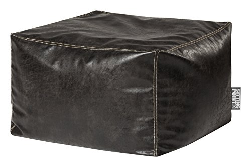 Gouchee Home Loft Frankie Collection Contemporary Faux Leather Upholstered Square Pouf/Ottoman, Charcoal